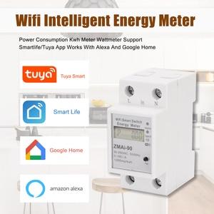Image 5 - 단상 딘 레일 Wifi 스마트 에너지 미터 전력 소비 Kwh 미터 전력계 지원 Tuya App 제어 Alexa Google 홈