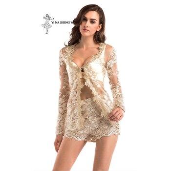 Women adult Translucent clothes 2-pieces set Jacket+short pant Sexy lady Party Nightclub High quality dinner Club Ballroom Dress 1
