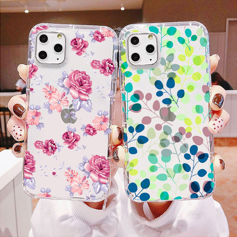 Colorful spring fall Cute Floral Leaf fruit Phone Case For samsung S20 A50 A70 A30 S8 S9 S10 S11 E S7 S6 EDGE TPU Silicone case image