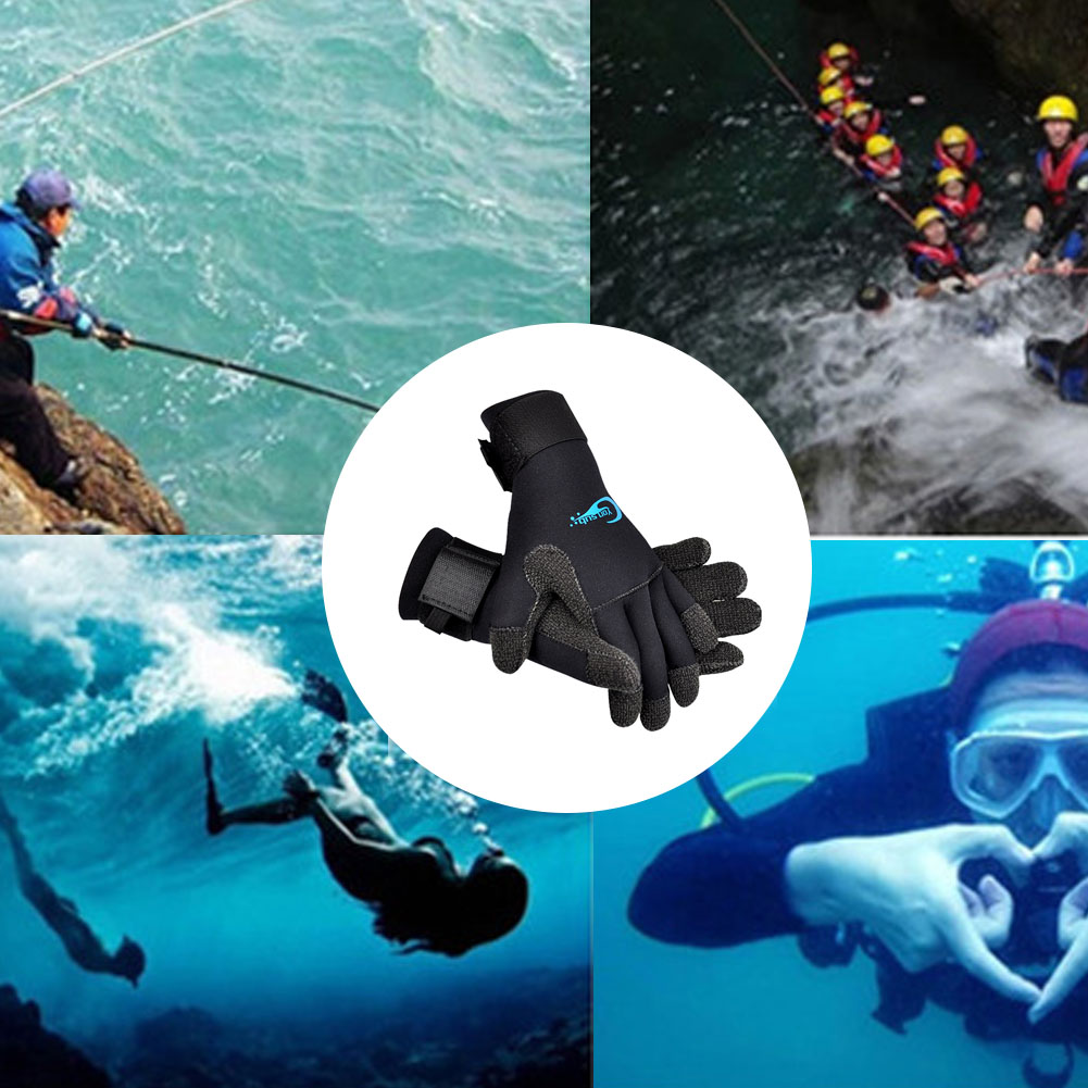 1 Pair 3mm Diving Gloves Anti Scratch Warm Adjustable Boating Surfing Equipment Non Slip Fishing Men Women Swimming Cold Proof