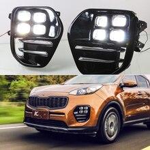 1 Pair bright LED DRL Daytime Running Lights fog Daylight top quality guiding light design For Kia Sportage KX5 2016 2017