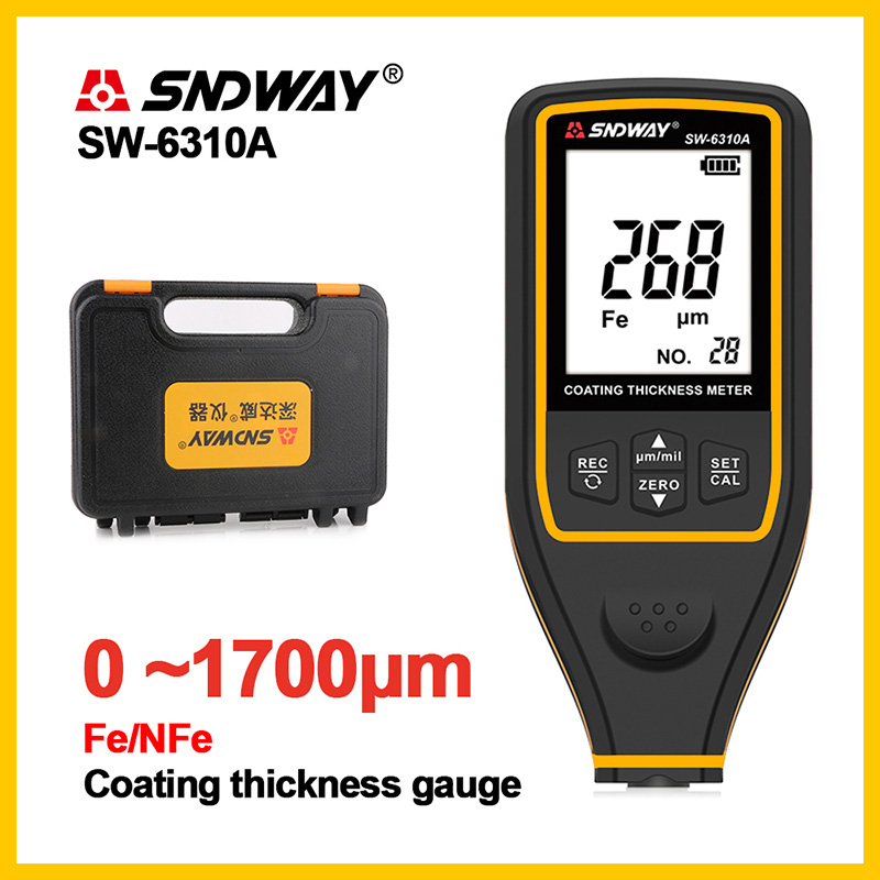 SNDWAY Digital Thickness Guage Paint Film Coating Tester Thickness Gauges SW-6310A 0~1700um Auto Paint Thickness Gauge