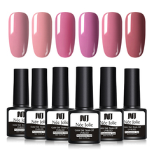 NEE JOLIE 1 Bottle 8ml Pale Mauve Series Color Polish 12 Colors Available Soak Off UV Gel Varnish One-shot LED Lamp Needed