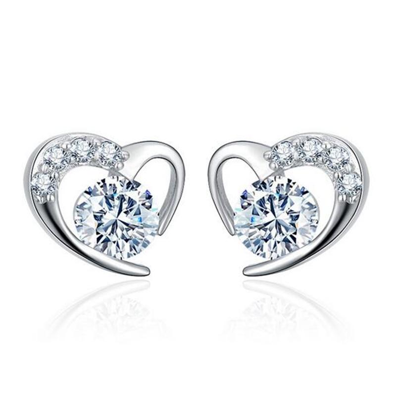 Wholesale Fashion Girl Woman Jewelry AAA Zircon Amethyst Purple Heart 925 Sterling Silver Stud Earrings YS16