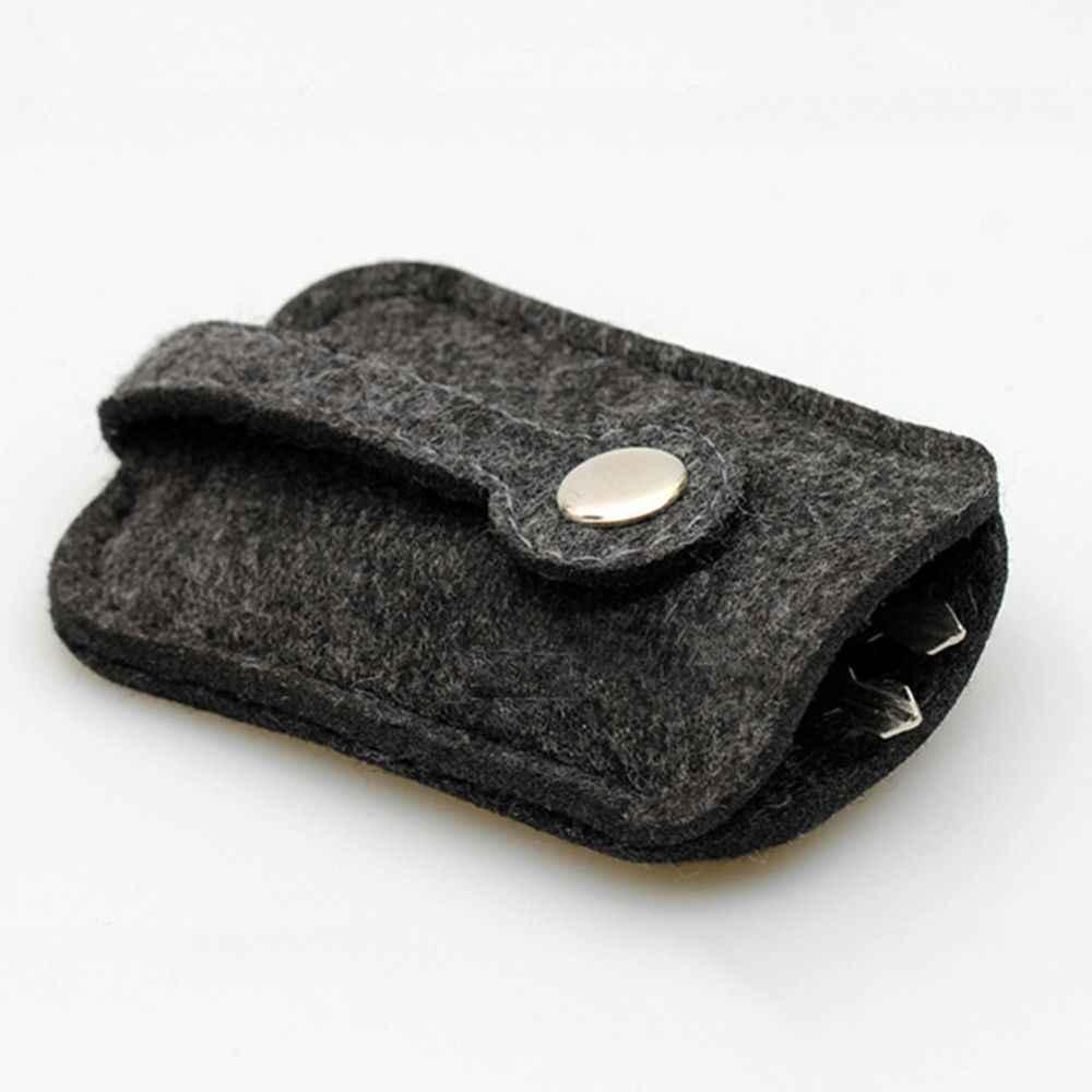 새로운 경량 회색 모직 펠트 키 지갑 내구성 편리한 자동차 키 체인 홀더 휴대용 포켓 키 주최자