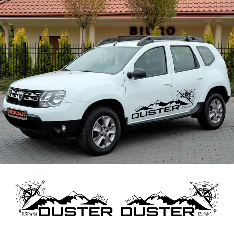 2 Sides Car Graphics Vinyl Side Stripes Auto Sticker Decals Car Styling For Dacia Duster