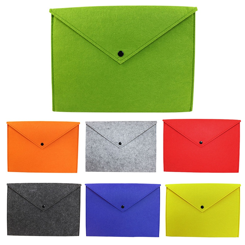1PC Simple A4 Big Capacity Document Bag Pad Business Briefcase File Folders Chemical Felt Filing Products Solid Color