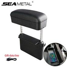 Mejora de la caja de almacenamiento Reposabrazos de coche ajustable codo de coche caja de soporte Auto asiento Gap organizador de carga inalámbrica con USB Line Gift