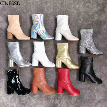 Split Toe Genuine Cow Leather Ankle Boots Women Round Chunky High Heels Short Boots Shoes Ninja Tabi Boots split toe genuine cow leather ankle boots women round chunky high heels short boots shoes ninja tabi boots