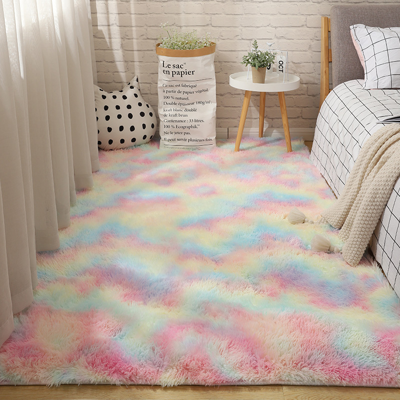 Fluffy Tie Dye Carpets For Bedroom Decor Modern Home Floor Mat Large Washable Nordica in the Living Room Soft White Shaggy Rug 11