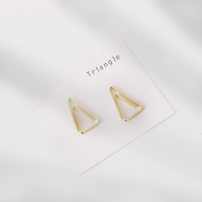 TUTU 10PCS/LOT Gold Paper Clip Creative Triangle Clip Metal Office Accessories Paperclips Metal Paper Clips Bookmark H0455