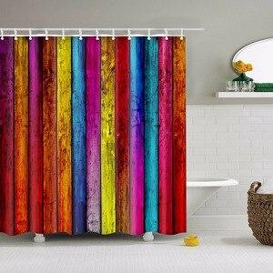 Image 5 - Rideaux De bain imperméables décoratifs géométriques De vague De rayure De Rideau De Douche pour le Rideau De Douche De salle De bains
