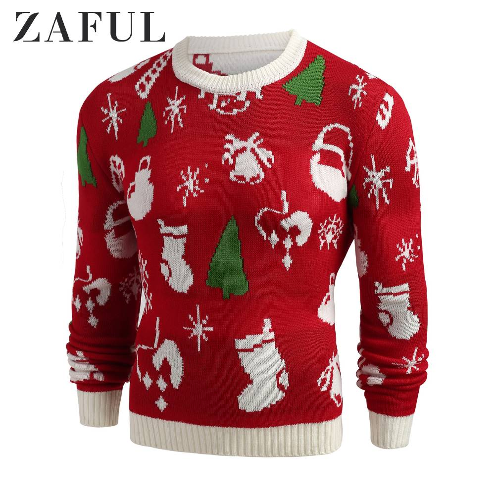 ZAFUL Christmas Theme Print Sweater For Men Long Sleeve Crew Neck Lava Red Pullovers Male Tops Autumn Spring
