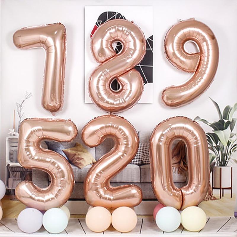 40 дюймов цифровой Фольга на день рождения воздушные шары воздушные гелиевые шара с цифрой цифры Happy День рождения Декор Baby Shower малыш игрушка...