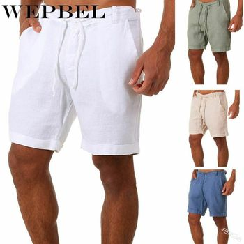 WEPBEL New Fashion Men Summer Casual Short Pants Solid Color Drawstring Elastic Waist Comfy Cotton Linen Shorts danjeaner 2017 summer casual loose cotton high waist shorts youth solid slim drawstring elastic waist shorts women shorts mujer