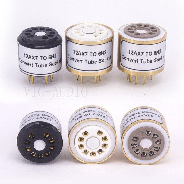 1Pc 12AX7 ECC83 Top Te 6N2 Bodem 9Pins Naar 9Pins Buis Diy Audio Vacuümbuis Adapter Socket converter Versterker Hifi