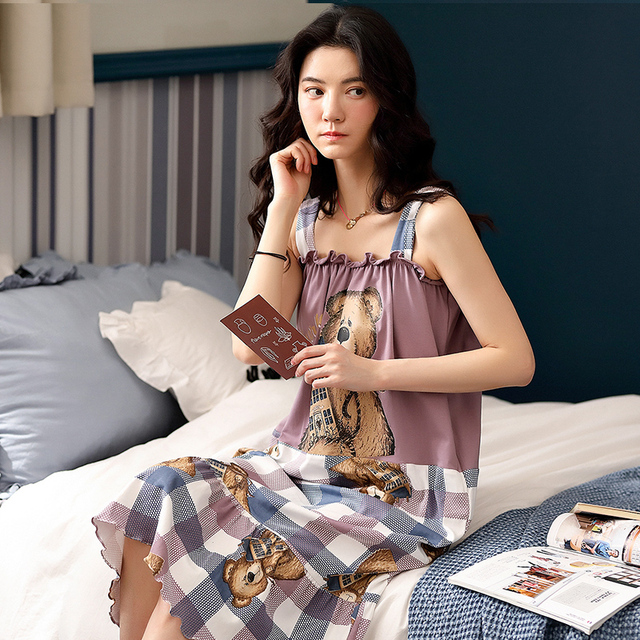 Camisón bonito estampado de oso Caiyier sin mangas de verano para mujer, Camisón de algodón con bolsillo, ropa de M XXL