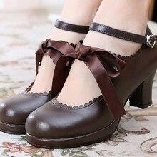 Lolita zapatos jk de tiras y tacón alto negro mujeres Bowknot princesa Kawaii chica zapatos de mujer Vintage dulce Kawaii chica té fiesta cos
