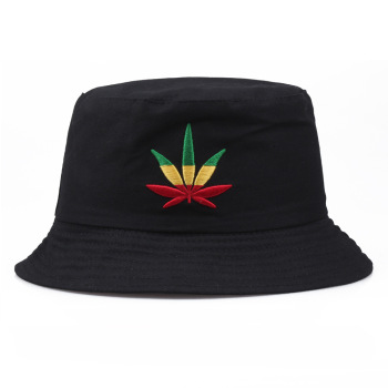 Maple Leaf Floppy Bucket Hat Men And Women Hip Hop Fisherman Panama Caps Embroidery Cotton Outdoor Summer Swag Fishing Hats
