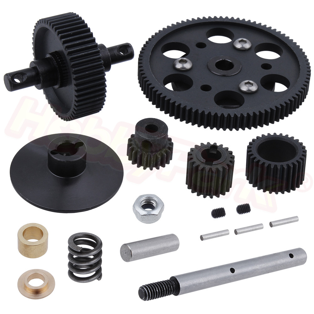 Metal Heavy Duty Hardened Steel Transmission Gear Set (87T,52T,28T,20T) Spur & Pinion Gears For Axial SCX10 1/10 RC Crawler Car