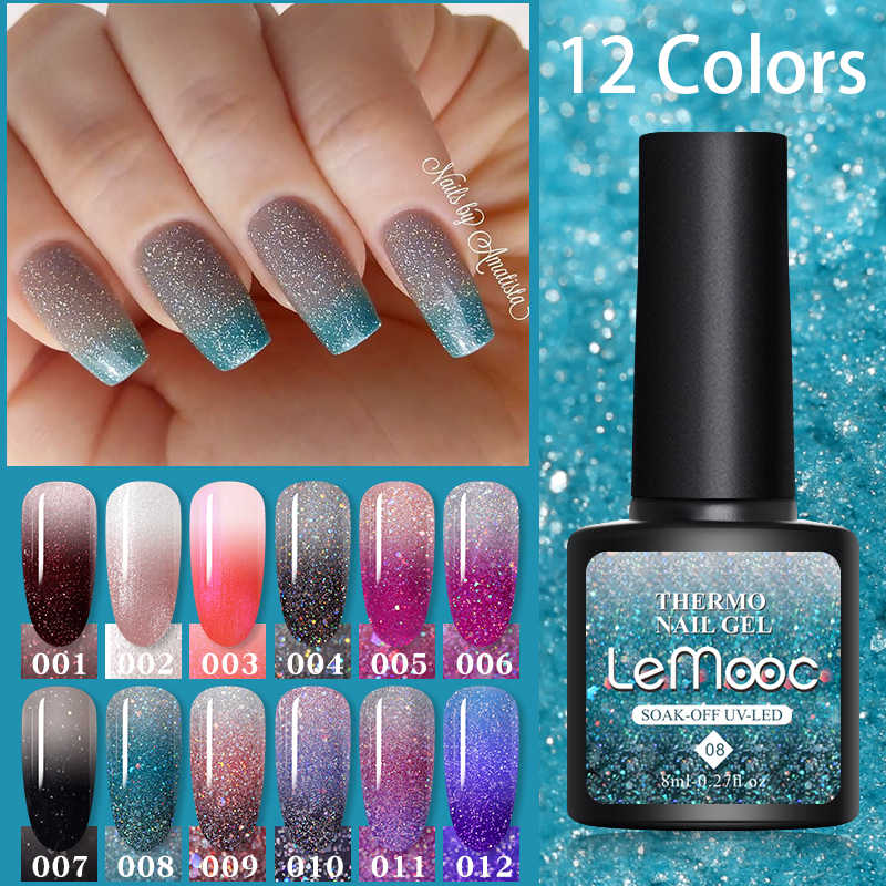 LEMOOC 8Ml Gel Polandia Termal Suhu Perubahan Warna Kuku Gel Varnish Glitter Payet Rendam Off UV Chameleon Lak