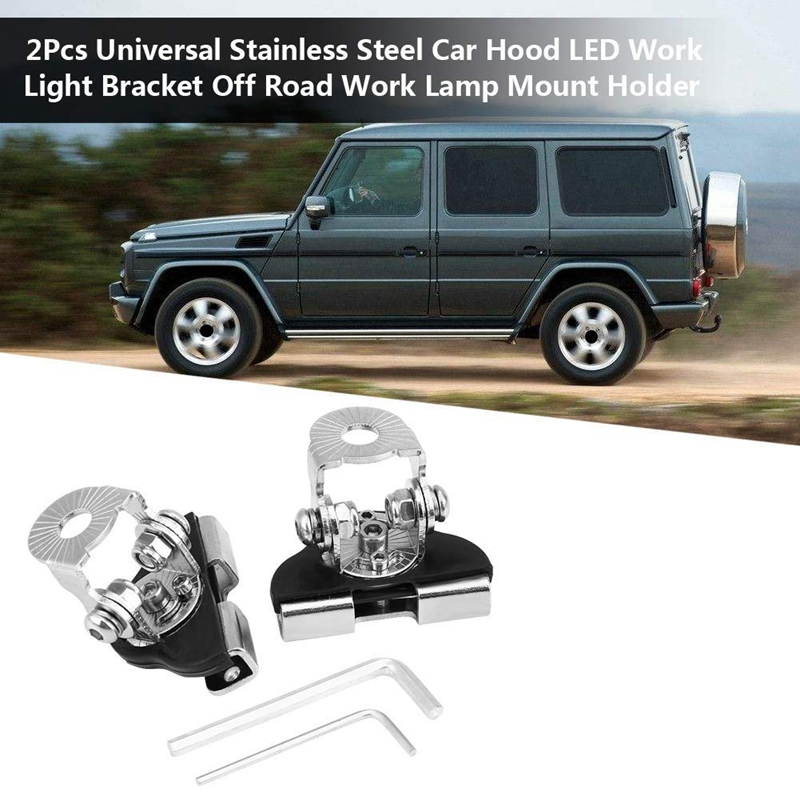 2Pcs Universal Hood Mount Led Light Bar Mounting Brackets Adjustable Clamp Pillar Holder Led Work Light Bar Stainless Steel Hood
