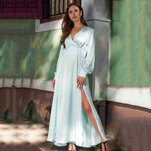 Women V Neck High Slit Maxi Dress Long Sleeve Split Evening Cocktail Party Dress(China)