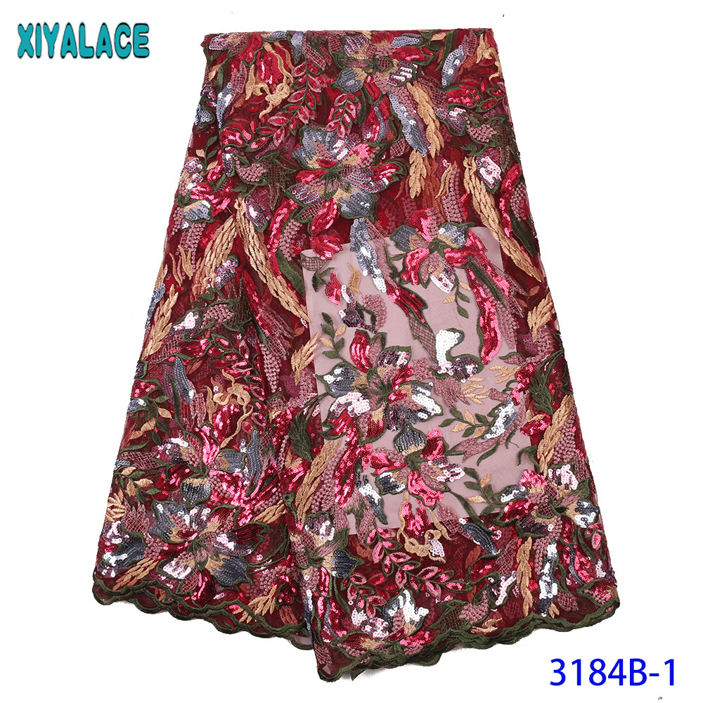 French Lace Fabric African Embroidered Tulle Lace Fabric With Sequins Nigerian Lace Fabric For Wedding Dress Colorful KS3184B