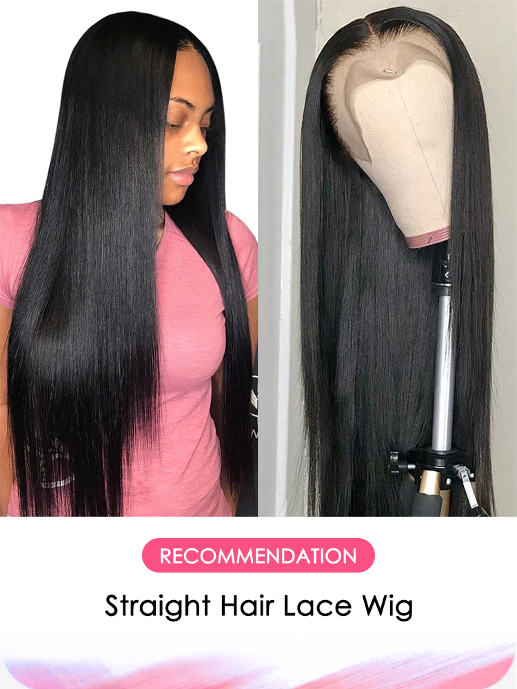 Aircabin Wig Straight Lace Closure Human-Hair 150 Pre-Plucked Black Women High-Density