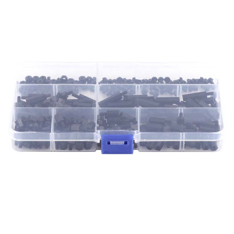 250x Plastic Nylon M3 Hex Column Standoff Spacer Screw Nut Assortment Kit