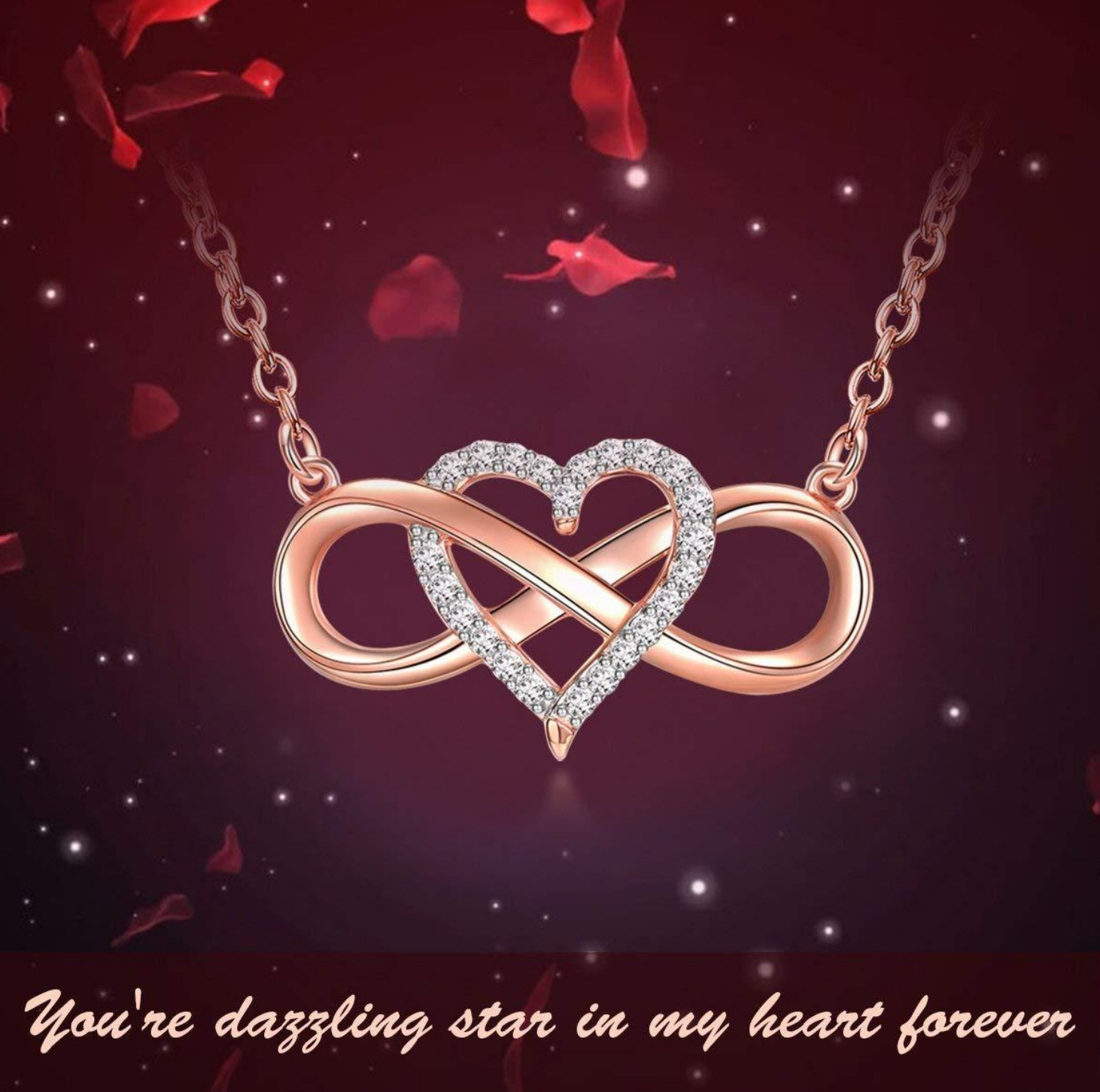 Charming Valentine Gifts Stylish White Infinity Heart Pendant Chain Necklace For Women Mom Girlfriend Wife Gifts image
