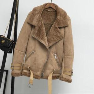 Image 5 - ผู้หญิงเสื้อกันหนาวเสื้อขนสัตว์หลวมหนาอุ่นFaux Sheepskin Coatฤดูหนาวใหม่รถจักรยานยนต์Lambsขนสัตว์หญิงเสื้อขนสัตว์outerwear