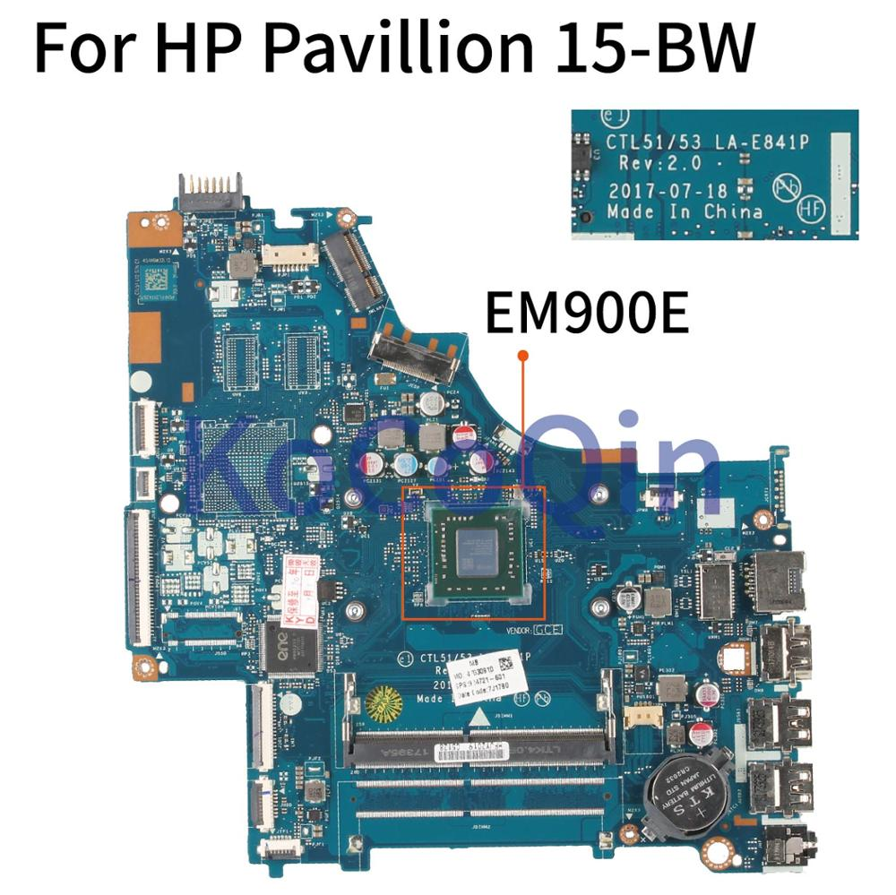 KoCoQin Laptop Motherboard For HP Pavillion 15-BW Core EM900E Mainboard 924721-601 LA-E841P DDR4