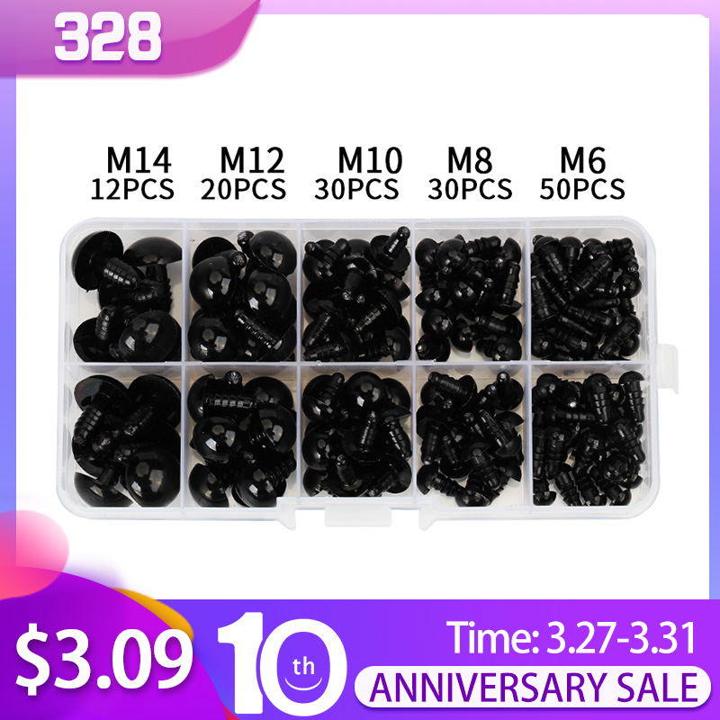 142pcs 6-14mm Black Plastic Craft Safety Eyes For Teddy Bear Stuffed Doll Animal Amigurumi DIY Accessories