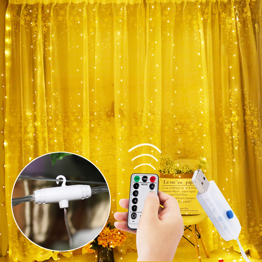 3*3 M USB Led Curtain Window String Lights With Hook Up 300 LEDs String Fairy Light Icicle Garland Christmas Wedding Lamp Decor