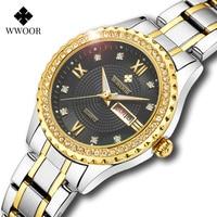 WWOOR Frauen Uhren Marke Luxus Diamant Kleid Quarz Damen Armbanduhr Edelstahl Uhren Armbänder Für Weibliche Geschenk Uhr