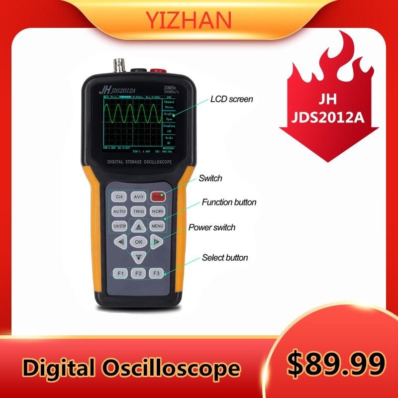 EU plug-JDS2012A Oscilloscopio 200MSa//s 20MHz LCD Digital Storage TFT Oscilloscopio portatile 100-240V