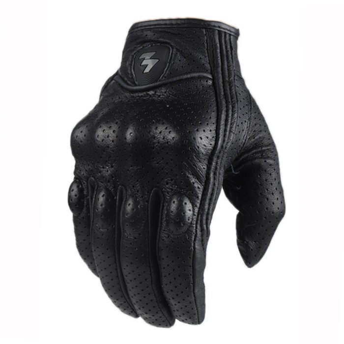 Retro Perforated and no Perforated black Leather Motorcycle Gloves Style Cycling bike Motorbike Protective Gears Motocross Glove