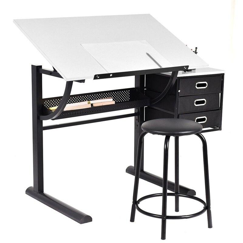Adjustable Drafting Table Art & Craft Drawing Desk W/Stool School Desks Set HW52946