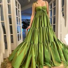 Green Satin Prom Dresses Sweetheart Sleeveless Spaghetti Straps Pleats Formal Evening Party Gowns Vestidos De Fiesta Custom