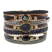 Женские браслеты модные кожаные с магнитной застежкой для женщин
