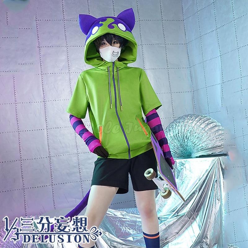 Anime sk8 o infinito miya chinen cosplay traje com zíper com capuz jaqueta sk 8 ternos unisex tops casaco shorts cauda meias c103m111