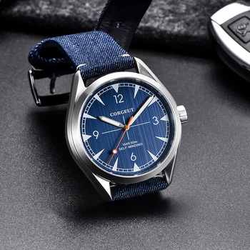 New arrival Fashion 41mm Corgeut Sapphire Glass top brand luxury clock male leather Automatic Movement men's Watch