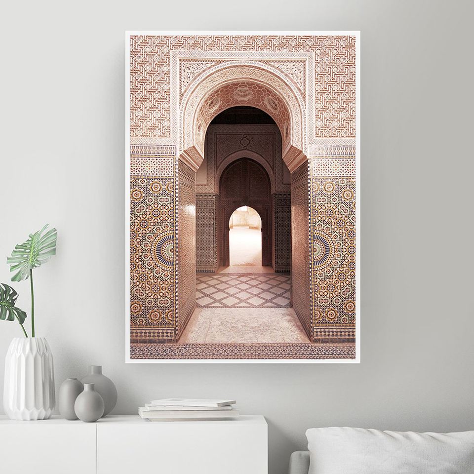 Moroccan Architecture Poster Wall Art Canvas Prints Art Painting Wall Pictures Modern Allah Mosque Minimalist Home Decoration Painting Calligraphy Aliexpress