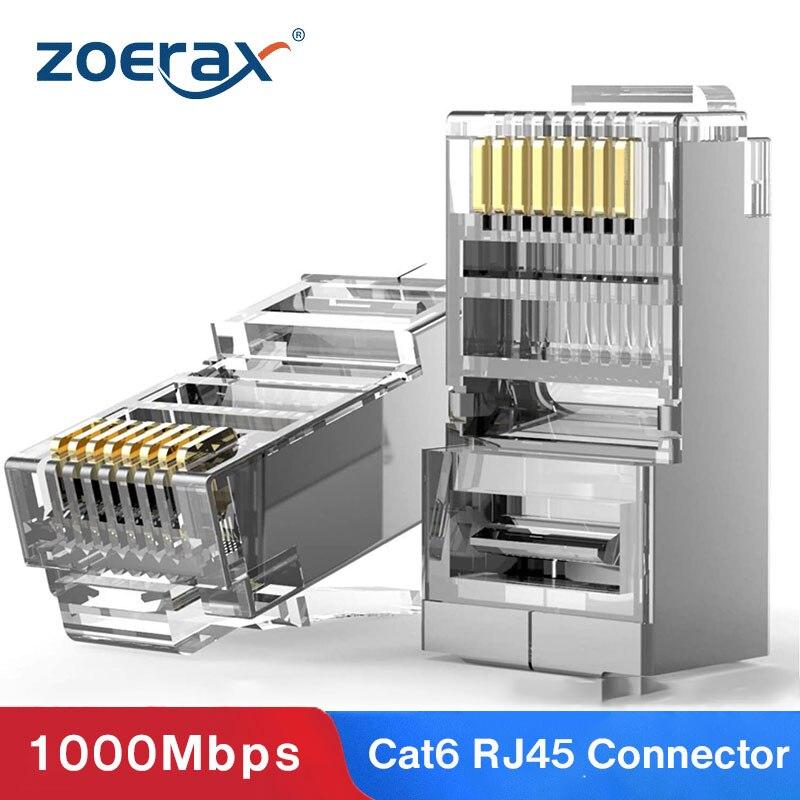 ZoeRax Cat6 RJ45 разъем 8P8C модульный Ethernet Кабельный разъем позолоченный Cat 6 ОБЖИМНАЯ сеть RJ 45 щипцы разъем Cat6
