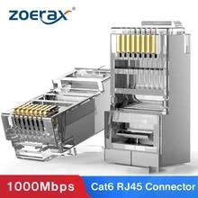 ZoeRax Cat6 RJ45 커넥터 8P8C 모듈러 이더넷 케이블 헤드 플러그 금도금 Cat 6 크림프 네트워크 RJ 45 크림 퍼 커넥터