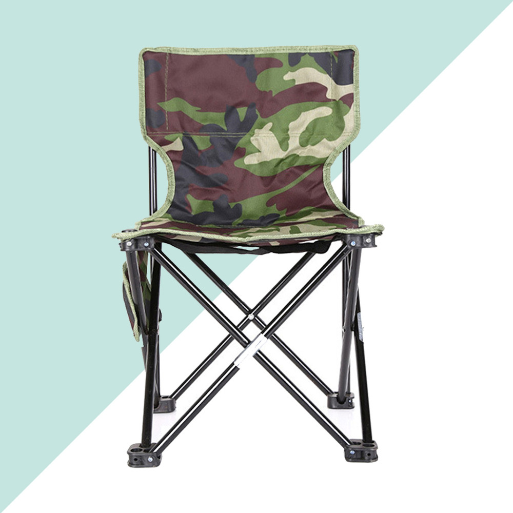 Fashion Camouflage Folding Chair Light Portable Casual Fishing Chair Outdoor Camping Beach Chair (Small, Random Pattern)