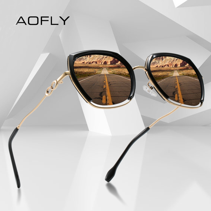 AOFLY Square Polarized Sunglasses Women Luxury BRAND DESIGN Fashion Oversized Driving Sun Glasses For Ladies Travel Goggle UV400