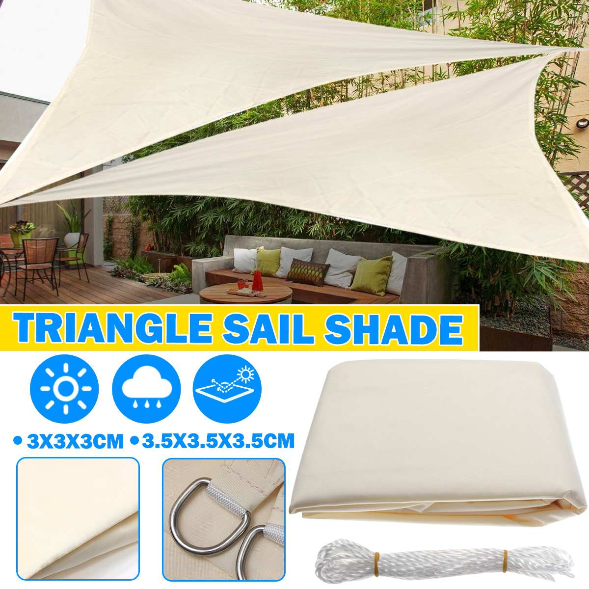 Event Shelters Gazebos Sports Outdoors Triangle Sun Shelter Sunshade Protection Outdoor Canopy Garden Patio Pool Shade Sail Awning Camping Picnic Tent