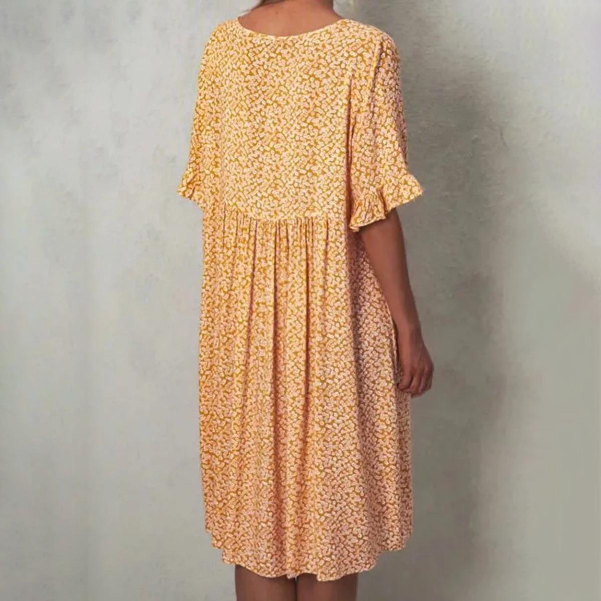 Floral Print Midi Dress Women Round Collar Ruffles Short Sleeve Knee Length Dress Summer Autumn 2020 Casual Chic Vestidos Female